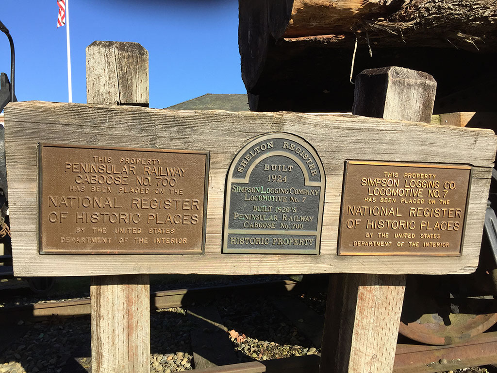 Shelton Visitors Center Train Plaque